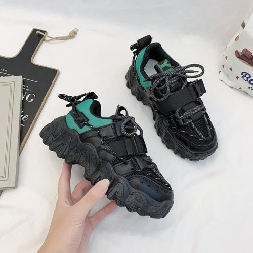 Fashion Sneakers For Women Buckle Chunky Platform Heels Vulcanized Shoes Spring 2021 Air Mesh Thick Bottom Female Running Shoes