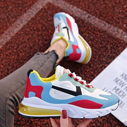 Women's Sneakers Mixed Colors Spring Shoes Woman Platform Ladies Flat Shoes Lace-up Air Mesh Breathable Female Vulcanized Shoes