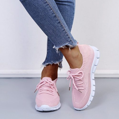 Spring 2021 Women's Sneakers Breathable Knitted Casual Socks Shoes Lace up Ladies Shoes Female Students Vulcanized Running Shoes