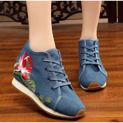 Chinese Style Embroidered Sneakers Women's Autumn Canvas Shoes Height Increasing Ladies Girls Single Shoes Female Footwear 2020