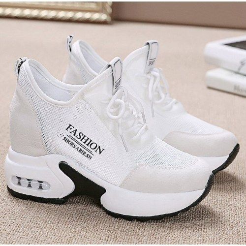 Platform Sneakers Women Thick Bottom Wedges Vulcanized Shoes High Heels Ladies Spring Footwear Suede Leather Female Shoes 2021