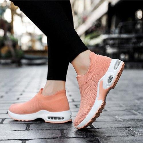 Mesh Sneakers Light Women's Vulcanized Shoes Knitted Casual Female Breathable Woman Footwear Slip On Walking Ladies Running Shoe