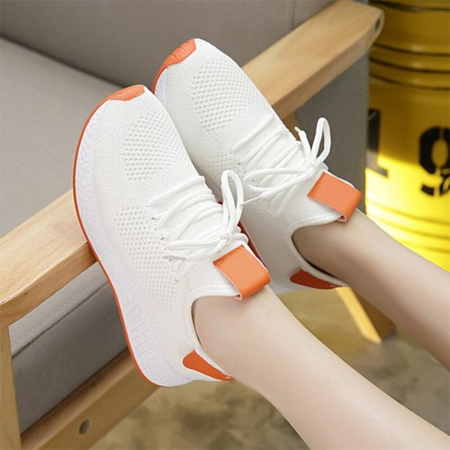 Mesh Vulcanized Shoes Women's Non-slip Ladies Lace Up Breathable Sneakers Female Flats Footwear Woman Lightweight Fashion 2021