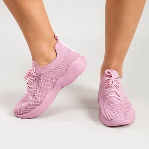 Women's Running Shoes Knitting Breathable Ladies Sneakers Sofe Bottom Spring Summer Fashion Lace Up Female Vulcanized Footwear