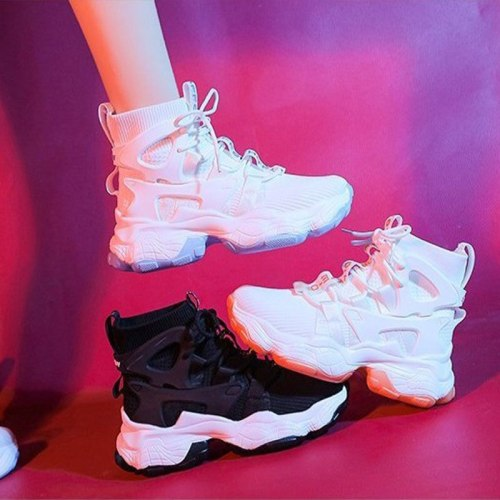 Women High Top White Casual Sneakers Autumn Mesh Breathable Chunky Heels Ladies Vulcanized Shoes Female Zapatos De Mujer 2021