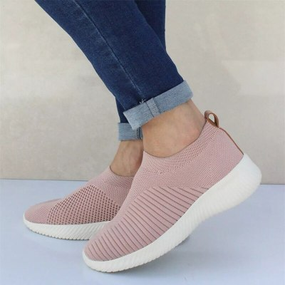 Ladies Slip On Breathable Casual Vulcanized Shoes Women Knitted Mesh Sneakers Spring 2021 Fashion Female Flat Shoes Plus Size 43