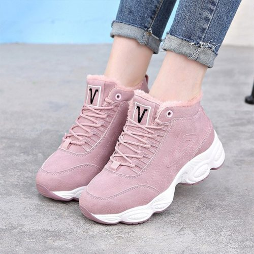Fashion Sneakers For Women 2020 Winter Shoes Faux Fur High Top Students Female Footwear Lace up Casual Ladies Platform Flats New