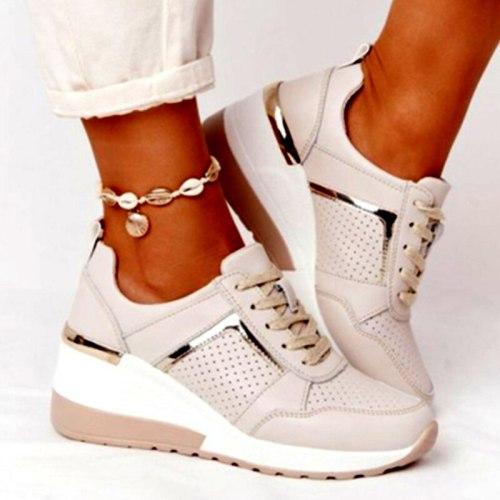 Women's Sneakers Breathable Light Ladies Vulcanized Shoes 2021 Lace Up Casual Wedges Heels Ladies Footwear Summer Spring Female