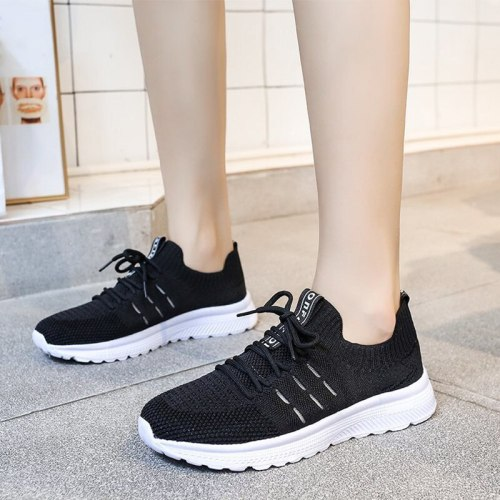 Women's Sneakers Breathable Platform Heels Fashion Woman Shoes Casual Lace-up Vulcanize Shoes Ladies Spring 2021 Running Shoes