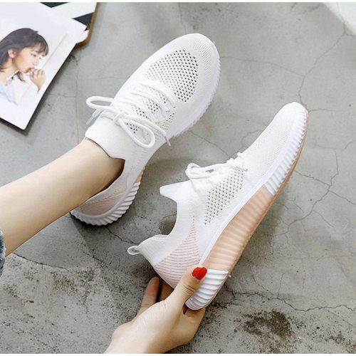 Summer Sneakers Breathable Women Vulcanized Shoes Mesh Knitted Spring 2021 Ladies Flat Shoes Casual Lace Up Female Running Shoes