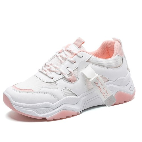 Women Sneakers Ladies Flat Platform Vulcanized Shoes Lace Up Mesh Breathable Fashion Casual Female Footwear 2021 Thick Bottom
