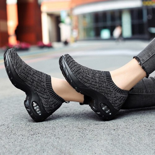 Women Sneakers Air Cushion Platform Ladies Knitted Breathable Casual Shoes Slip On Female Vulcanized Shoes Running Footwear 2021