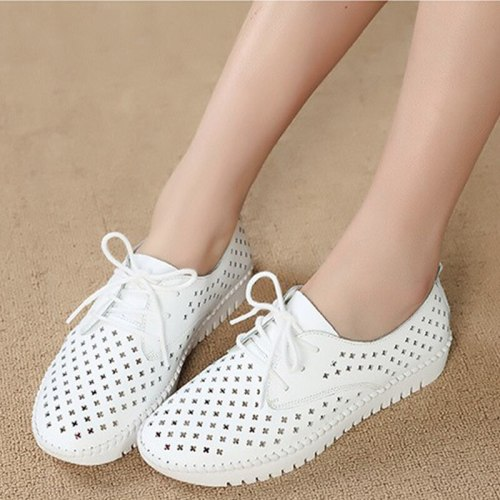 Women Sneakers 2021 Summer Sandals Soft Soled Ladies Flat Shoes Lace up Hollow out Breathable Casual Female Walking Shoes New