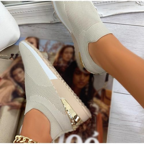 Running Shoes Spring 2021 Women's Sneakers Slip On Knitted Breathable Ladies Casual Sock Shoe Large Size Female Flats Vulcanized
