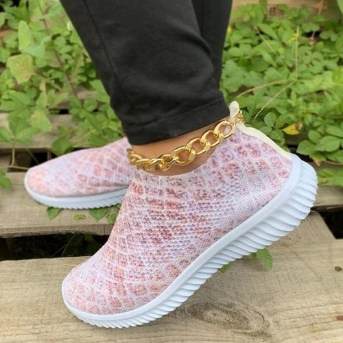 Spring Vulcanized Women Shoes 2021 Snakeskin Slip on Ladies Sneakers Stretch Knitted Non slip Female Running Shoes Casual Woman
