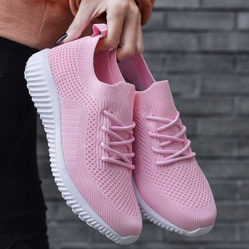 Women's Sneakers Light Breathable 2021 Lace Up Flat Shoes Ladies Mesh Vulcanized Shoes Casual Comfort Female Footwear Plus Size