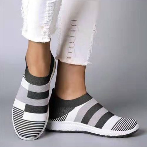 New Women Sneakers Women's Casual Flat Knitting Vulcanized Shoes Woman Slip On Fashion Stretch Ladies Comfort Female Plus Size