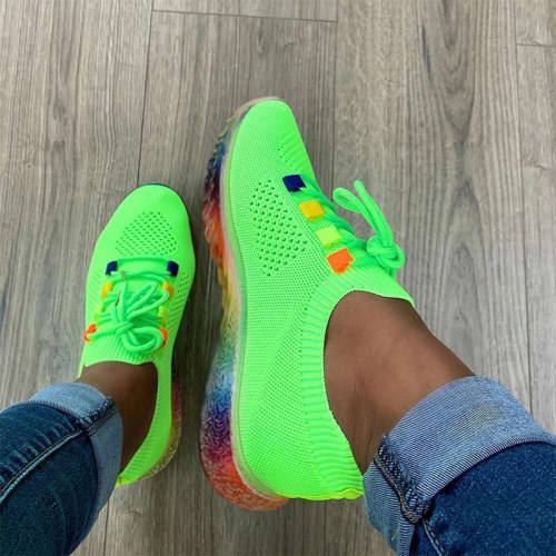 Women's Autumn Vulcanized Shoes Knitted Light Mesh Breathable Ladies Sneakers Lace Up Casual Female Flat Shoes Plus Size 35-43