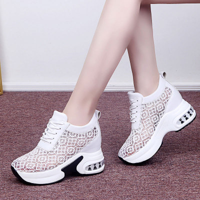Women White Shoes Breathable Mesh Chunky Platform Sneakers Summer Ladies Lace Floral Hollow Out Wedge Heels Casual Footwear 2021