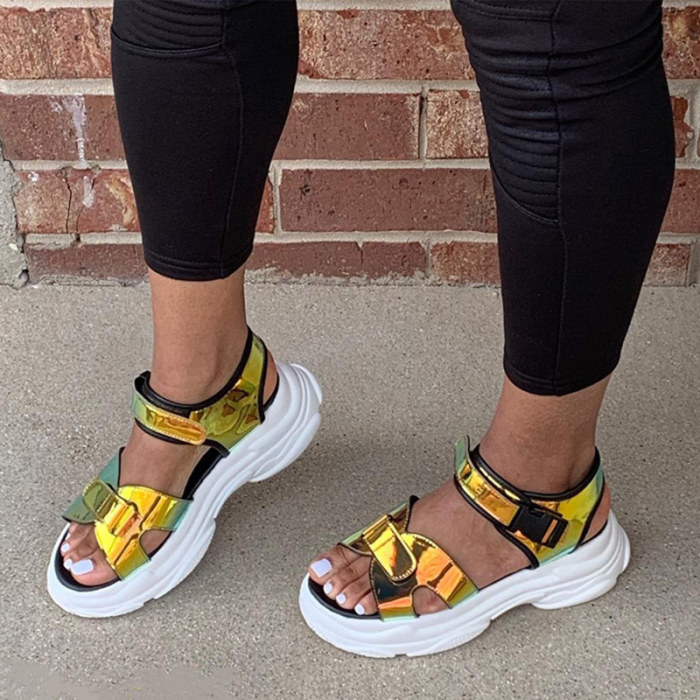Women's Sandals 2021 Casual Platform Female Shoes Summer Fashion Ankle Wrap Hook Loop Ladies Sandalias Comfort Woman Footwear