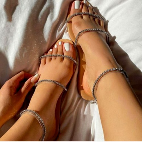 Women Shoes Sandals Summer Crystal Rome Women's Flats Shoes Ankle Strap Female Cool Girls Buckle Transparent Bling Ladies