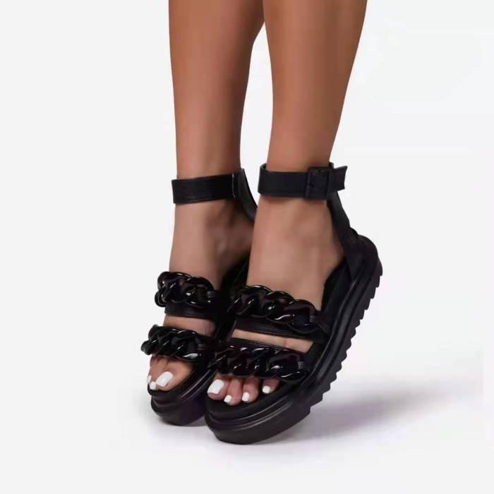 Retro Women Sandals Snake Flat Platform Ladies Wedge Women's Shoes Woman Casual Buckle Strap Chain Female Summer 2021 New