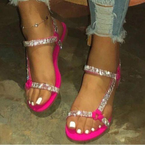 2021 Flat Sandals Women Fashion Summer Rhinestone Women Sandal Outdoor Beach Shoes Simple Crystal Shoe Plus Size 35-43