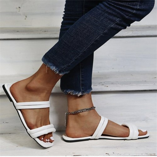 New Ladies Sandals Summer Sexy Flat Bottom Comfortable Casual Shoes Cross Ankle Strap Open Toe Women Sandals  Shoes for Women