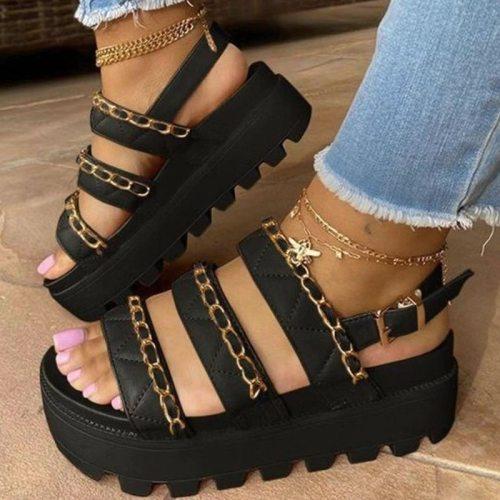 Women Sandals 2021 Fashion Wedge Platform Gladiator Sandals Open Toe Buckle Strappy Sandals Summer Shoes Women Sandalias Mujer