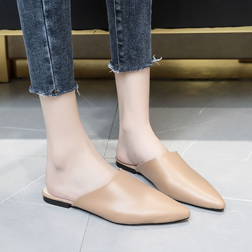 Comemore 2021 Women Slipper Fashion Mules for Women PU Leather Pointed Toe Slip on Flip Flops Summer Sandals Women's Shoes