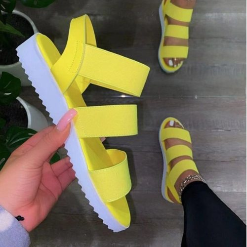 Casual and Comfortable All-match Hollow Elastic Band Buckle Trifle Bottom Women's Sandals Solid Color Plus Size Women's Sandals
