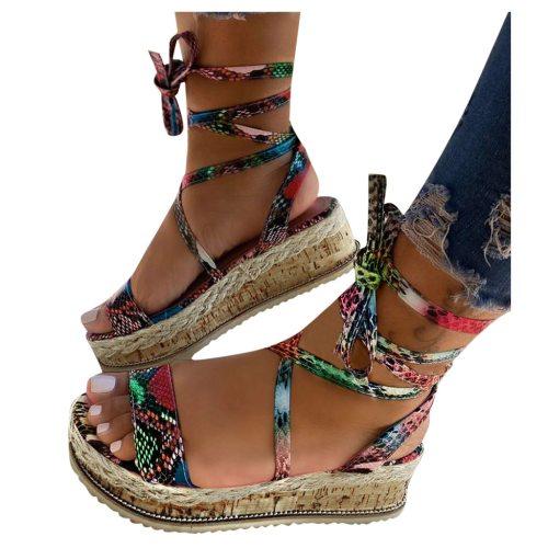 SAGACE Thick Bottom Horizontal Strap Sandals Plus Size 37-43 High heeled flat snake Sandals Female Wedge Heel Women's Shoes