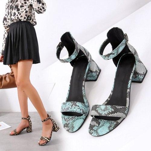 Women's Sandals Leopard Ladies Shoes Peep Toe Summer Square Heels Comfort Female Footwear Pu Leather Woman 2021 Plus Size New