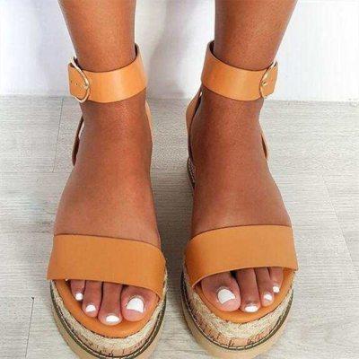 Retro Women Sandals Leopard Hemp Flat Platform Ladies Wedge Women's Shoes Woman Casual Buckle Strap Female Summer 2021 New