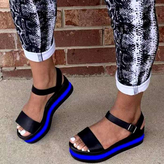 Summer Women Flat Sandals Mixed Colors Wedges Sandals Platform Women Shoes 2021 Ankle Strap Casual Light Beach Woman Shoes