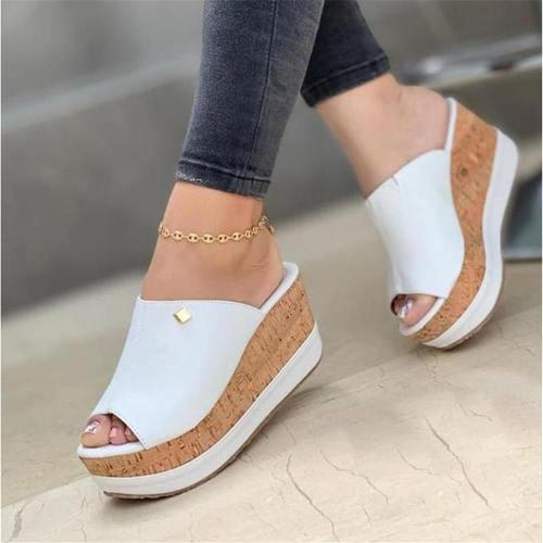 Lapolaka Wedges Sandals High Heel Platform Wedges Metal Decoration Flower Summer Elegant Cozy Women Fashion Slipper Mules Shoes