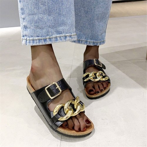 Lapolaka Flat Heel Slipper With Metal Decoration Summer Cozy Leisure 2021 New Women Mules Shoes Fashion Slipper Sandals