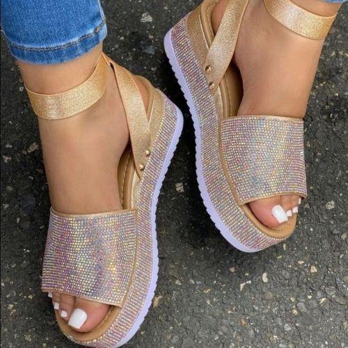 2021 Summer Women's Rhinestone Sandals Fashion Ladies Crystal Shoes Women Thick Bottom Shoe Buckle Female Footwear Open Toe
