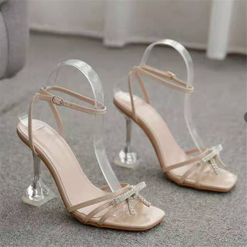 Women Thin High Heels Shoes Summer Sandals Transparent Gladiator Ankle Strap Sexy Pump Female Party Wedding Ladies Plus Size 43