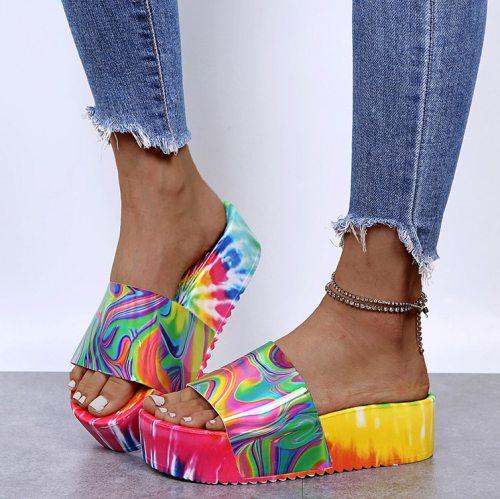 Sandals Plush Faux Fur Women Shoes Female Slippers Outdoor Platform Woman Slipper Casual 2021 Fashion summer Ladies Flat Shoes