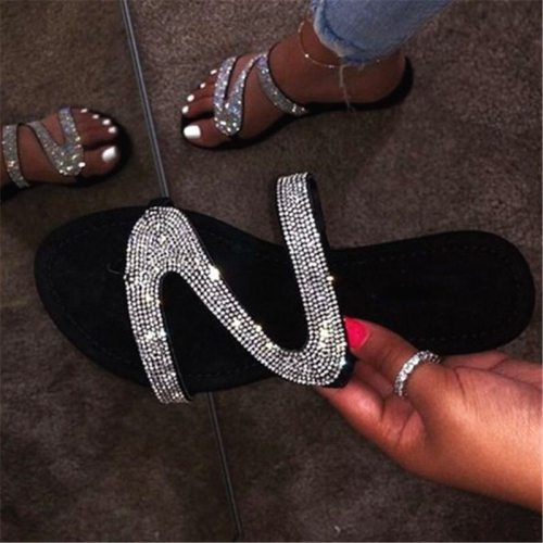 Women Summer Flat Bling Slippers Transparent Jelly Flat Shoes Female Flip Flops Sandals Outdoor Beach Ladies Slides Glitter