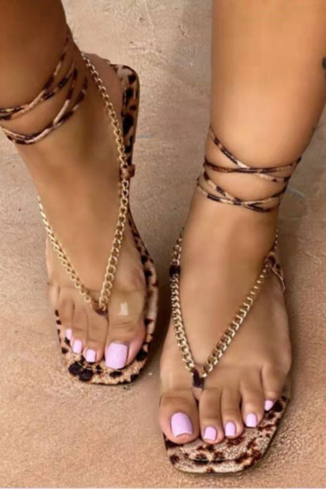 2021 Summer New Woman's Flat Sandals Open Toe Bandage Fashion Sexy Outdoor Beach Shoes Solid Color Plus Size 43