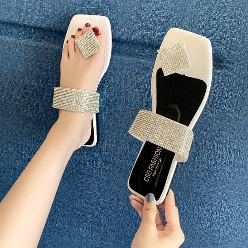 Luxury Crystal Women Sandals Clip Toe Slip-on Beach Slipper Shoes Woman Flat Heel Sandalias De Mujer 2021 Spring Summer Big Size