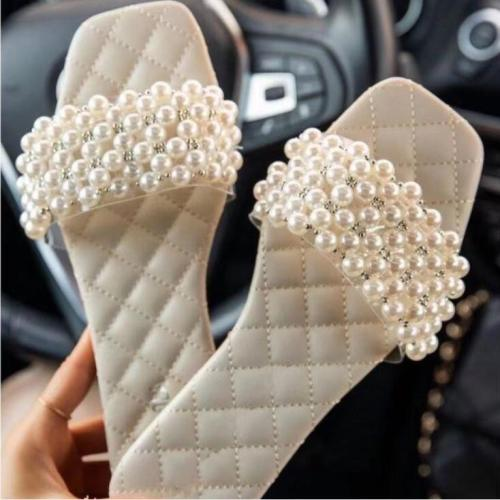Spring/summer new women 2021 pearl rhinestone women's all-match casual slippers fashion solid color flat shoes sandals