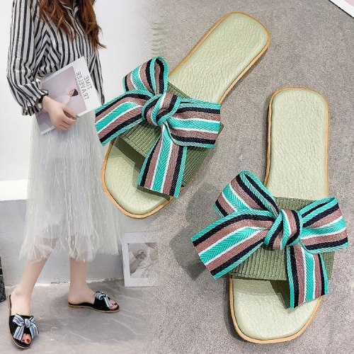 2021 Ladies' New Hot-selling Fashion All-match Bowknot Slippers, Beige, Black, Green,