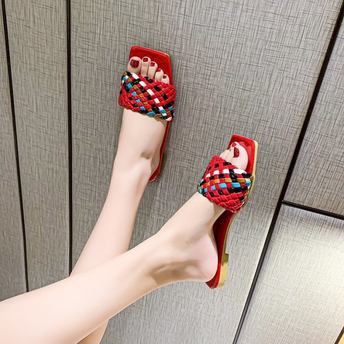 Flip-flops Summer Hot Style Flat-bottomed Color Fairy Style Fashion All-match Color Handmade Open-toed Woven Female Sandals