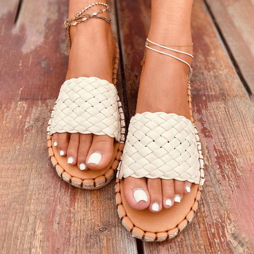 Summer Women's Slippers Weave PU Leather Platform Flat Shoes Woman Ladies Fashion Slides Casual Beach Shoes Female Footwear 2021