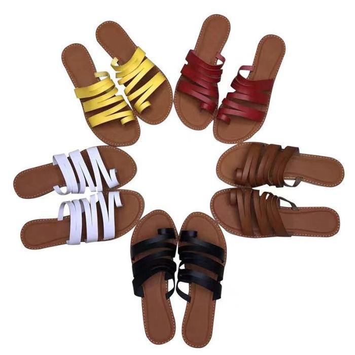 Women Slippers Retro Straps Women Slippers Yellow Flat Shoes Females Summer Sandals Beach Slides Casual Flats Ladies Shoes