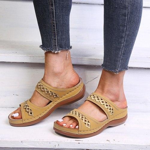 Women Summer  Slipper Platform Ladies PU Leather Flat Shoes Female Casual Slingbacks Sandals Comfortable Woman Shoes