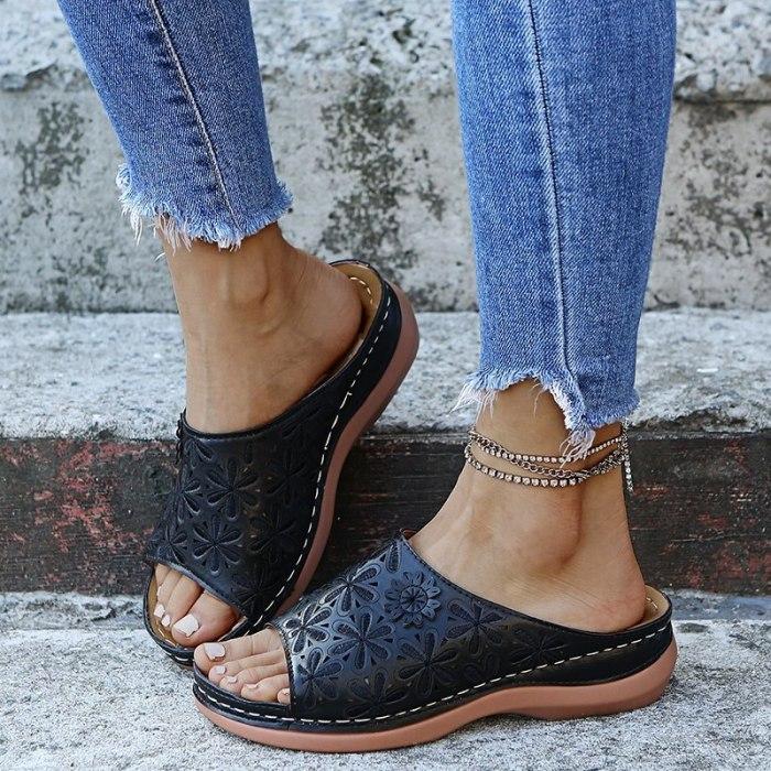 2021 Summer Women Wedge Sandals Premium Orthopedic Open Toe Sandals Vintage Anti-slip Leather Casual Female Platform Retro Shoes